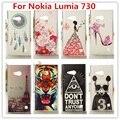 Para nokia lumia 730 caso/de lujo 3d de cristal de diamante de bling de plástico duro caso de la cubierta para nokia lumia 730 735 dual sim caja del teléfono