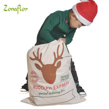 Zonaflor 1PC Gift Bag Christmas 11 Styles Red Drawstring Canvas Santa Sack Rustic Vintage Christmas stocking bags Decoration(China)