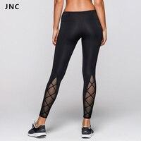 2017 New High Waist Black Tights Cutout Design See Through Mesh Yoga Pants For Women Sports