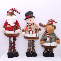 Extendable Standing 60 110cm Christmas Doll Display Window Home Bar Desktop Decoration Santa Claus Snowman Elk Toy New Year Gift