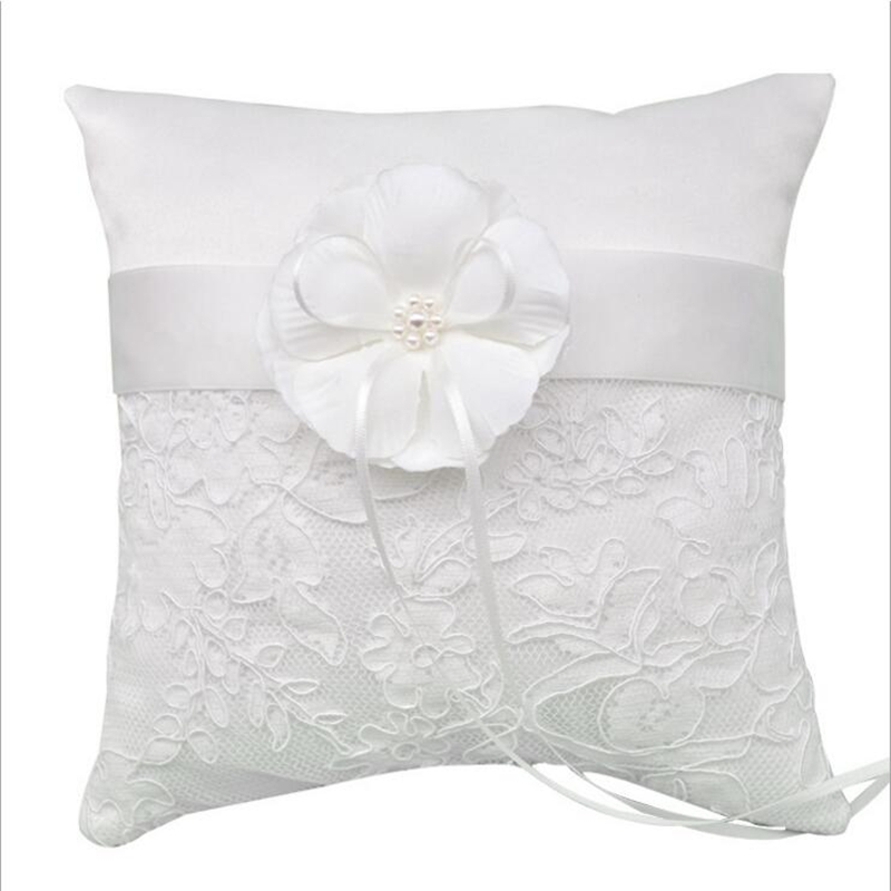 Wedding Ring Pillow Ribbon Bowknot Big Flowers Pearls Lace