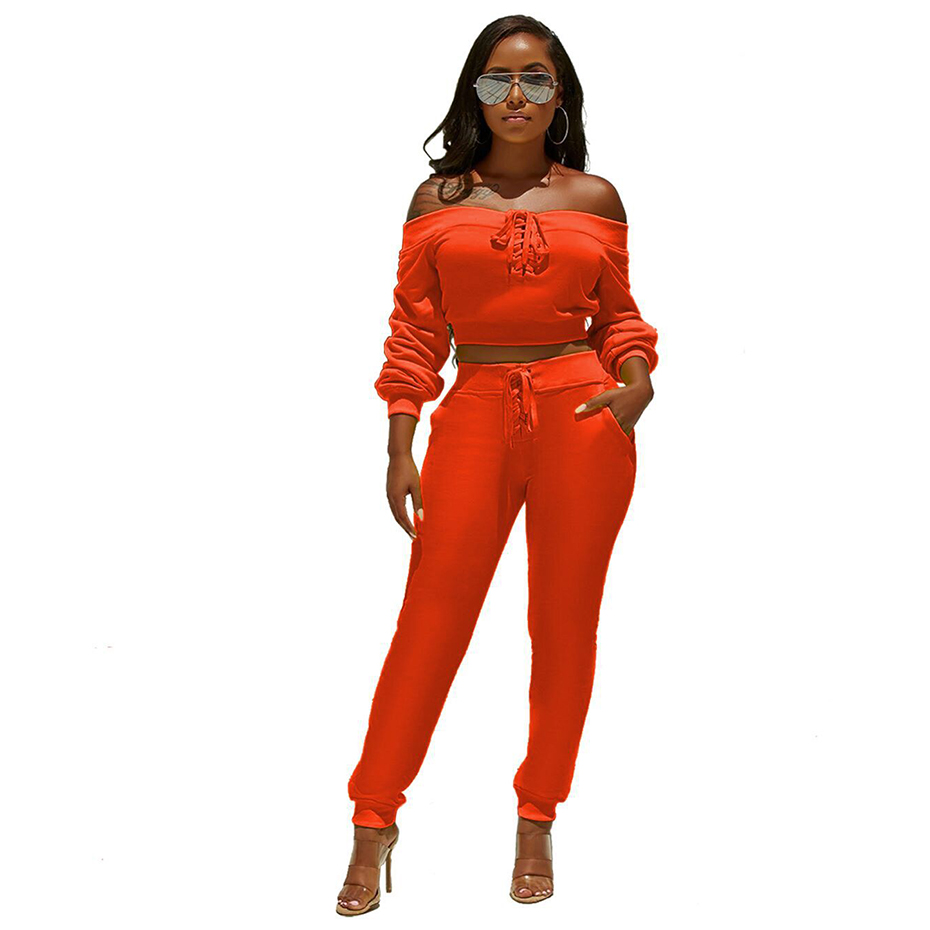 HAOYUAN Two Piece Set Women Tracksuit Festival Clothing Long Sleeves Sexy Crop Top And Pants 2 Piece Club Outfits Matching Sets