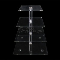 4 Tier Square Shape Acrylic Crystal Clear Cupcake Stand For Wedding Birthday Party Candy Display