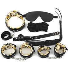 7 шт. Leopard SM секс-игрушки для пары садо комплект взрослых наручники мяч кнут воротник Фетиш O70927