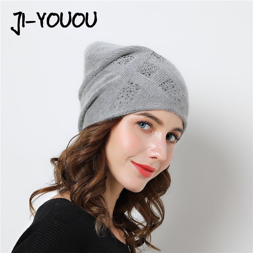 b7526c70c450d Women Winter hats Knitted Beanies 2018 Stretchy Hat Flashing Glass Rhinestone  caps Female Cashmere Bonnets Elegant