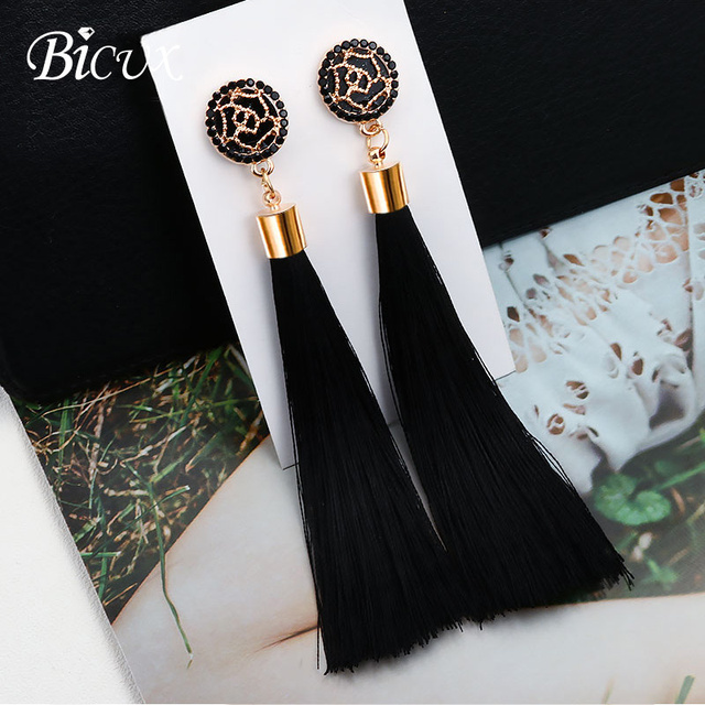 BICUX Fashion Bohemian Tassel Crystal Long Earrings White Red Silk Fabric Drop Dangle Tassel Earrings For Women 2019 Jewelry 1