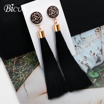 BICUX Fashion Bohemian Tassel Crystal Long Earrings White Red Silk Fabric Drop Dangle Tassel Earrings For Women 2019 Jewelry 1