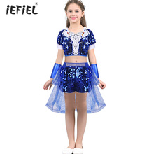 739bed08e344 Toddler Girls Hip-hop Jazz Dancewear Outfit Children Girls Clothes Shiny  Sequins Short Sleeves Dance
