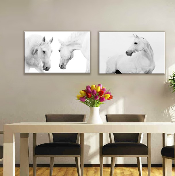 2 Pieces Wall Art Canvas Animal Painting Decorative White Horse Picture oil  Painting horse print canvas
