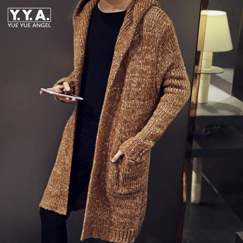Top Brand Cardigan Male Long Style Hooded Sweater Plus Size S-5XL Slim Fit Outerwear Coat Knitted Sweater For Men Sueter Hombre