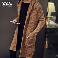 Top Brand Cardigan Male Long Style Hooded Sweater Plus Size S 5XL Slim Fit Outerwear Coat Knitted Sweater For Men Sueter Hombre