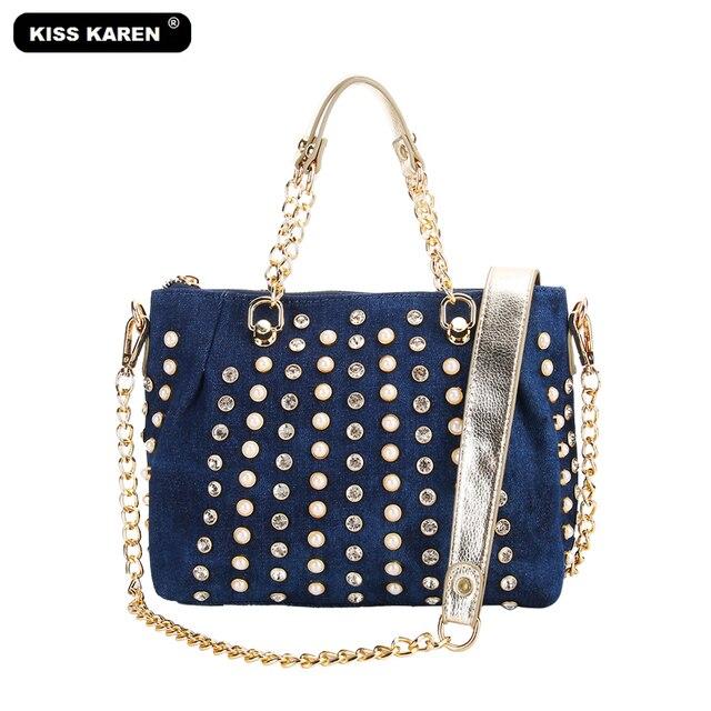 b8902ca5e Bolso de mujer de lujo KISS KAREN bolso de mano de mezclilla de diseño de  moda