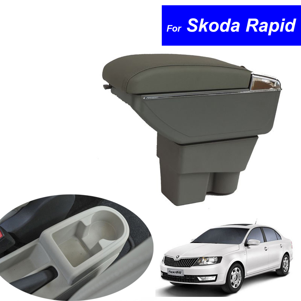 Leather Car Center Console Armrests Storage Box for Skoda Rapid 2013 2014 2015 2016 Auto Interior Parts Free Shipping leather car interior parts center console armrest box for nissan kicks 2016 2017 2018 auto armrests storage with usb