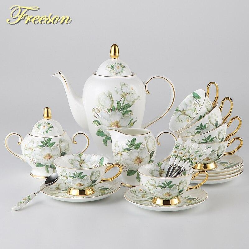 Europa Camellia Bone China Kavos rinkinys Britų porceliano arbatos - Virtuvė, valgomasis ir baras - Nuotrauka 2