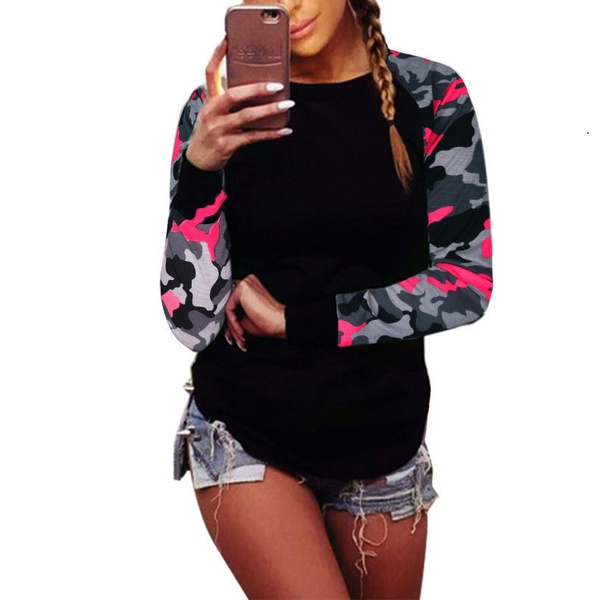 ZOGAA 2018 Long Sleeve Camouflage Print T shirt Stitching Armygreen T shirt 5xl Women Shirt Casual female T shirt in T Shirts from Women 39 s Clothing