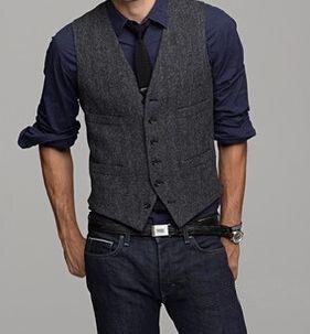 Lana Tweed negro Chalecos Slim mens traje chaleco por encargo prom Tuxedo  chaleco hombres Chaleco de 7bdf60dc081