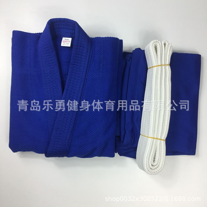 Image 2 - Pure cotton portions 450 g white blue standard training game  fighting coat pants belt portions jiujitsu judoOther Fitness