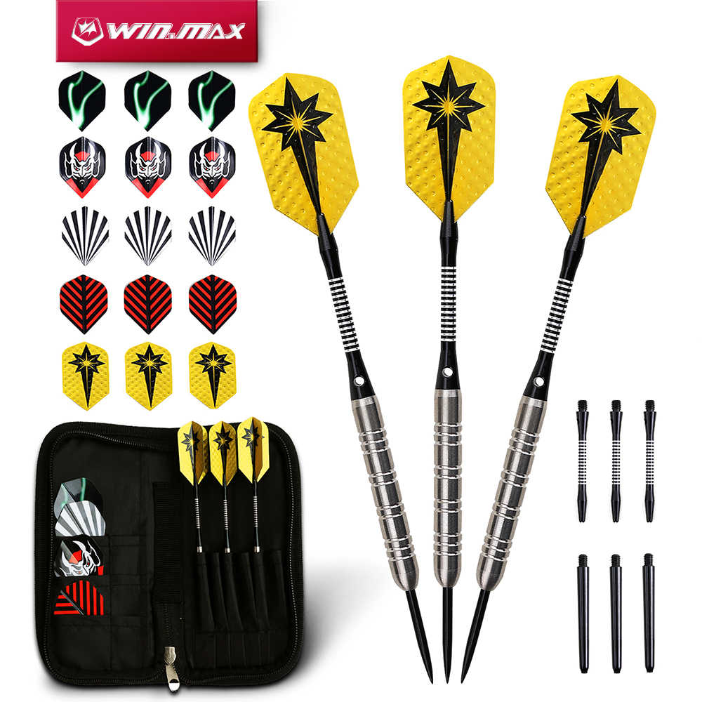 WINMAX Dart Accessries  80% Tungsten 22G/24G Steel Tip Darts for Bristle Sisal Dartboard or Paper Dartboard with Free Dart Case