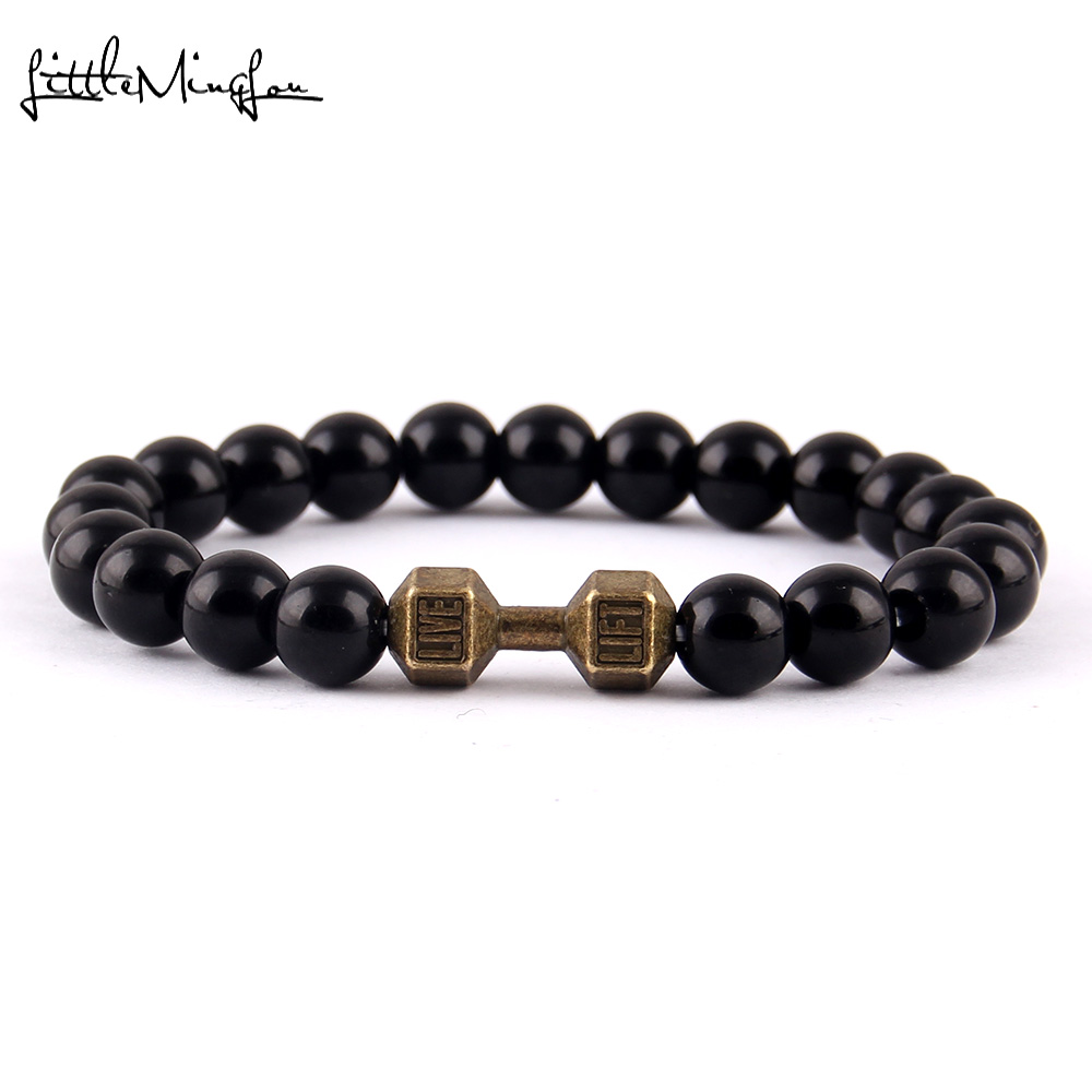 Little Minglittle Fitness haltère Barbell charme gym hommes bracelet - Bijoux fantaisie - Photo 4