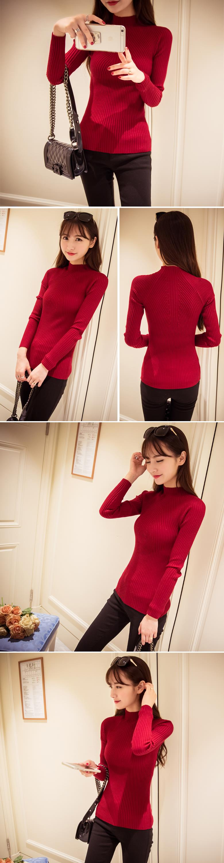 New 17 Spring Fashion Women sweater high elastic Solid Turtleneck sweater women slim sexy tight Bottoming Knitted Pullovers 19