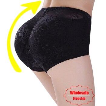 NINGMI Padded Pants Shaper Seamless Fake Ass Pads Panties Buttocks Push Up Lingerie Women Underwear Butt Up Briefs Hip Enhancer ropa interior de encaje negra