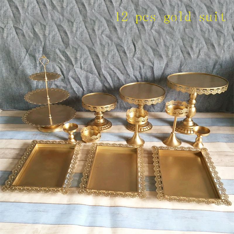 Set of 12 pieces gold cake stand wedding cupcake stands cryst set glass dome fruit bar decoration cake tools bakeware set