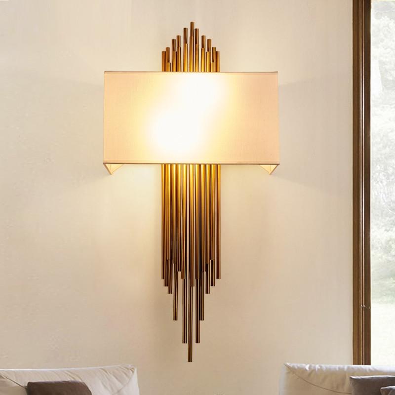 Postmodern Retro Wall Lamp Engineering wall light Model Designer Wall Cloth Cover Iron Wall Hotel LED Light