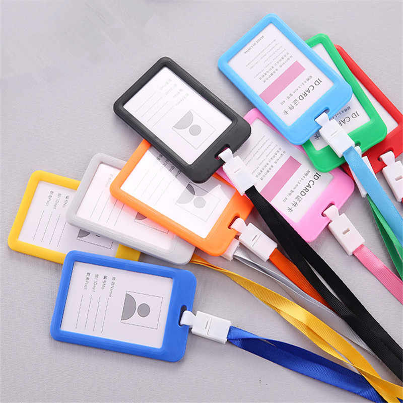 Multicolor Name Credit Card Holders Bank Card Bus ID Identity Rope Badge Holder School student office Supplies