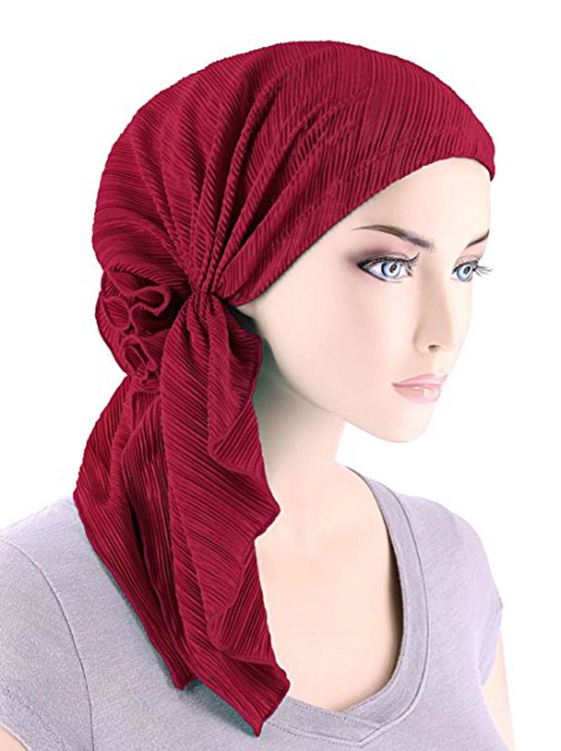 New Fashion Women Ruffle Headscarf Chemo Hat Turban Head Scarves Pre-Tied Headwear Bandana Tichel For Cancer Turbante
