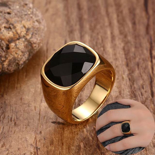 Black Carnelian Stone Signet Ring For Men Gold Color Stainless Steel