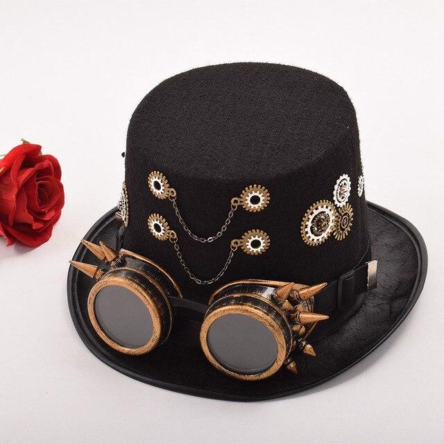 Шляпа в стиле стимпанк с очками в ассортименте вариант 5