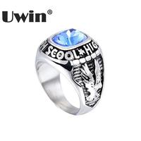 Uwin European Hot Graduation Anniversary Eagle Symbol Ring Stainless Steel Gold Silver Colorful Stone Creative Ring Women Men
