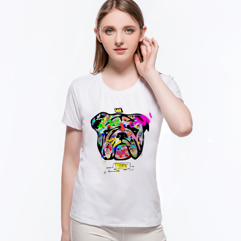 Hot Sale Simple Casual Pardon My French! T-Shirt Colorful Painted Lovely French Bulldog Novelty Woman Short Sleeve Tee L10-C47