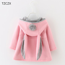 Hot Sale New Autumn&Winter Children Baby Girl Rabbit Ears Long Sleeve Jackets Clothes For 12 months to 4 Years Old Kids Wear