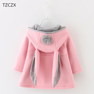 Image 1 - Hot Sale New Autumn&Winter Children Baby Girl Rabbit Ears Long Sleeve Jackets Clothes For 12 months to 4 Years Old Kids Wear