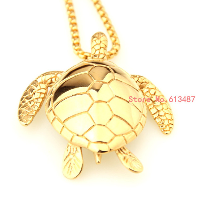 New fashion gold stainless steel sea turtle pendant chain mens new fashion gold stainless steel sea turtle pendant chain mens necklace with free box chain aloadofball Choice Image