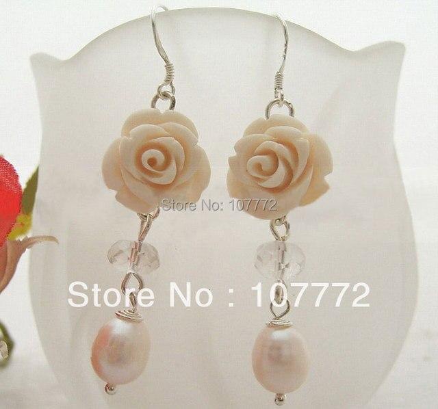@@~~ Pearl&Crystal&Shell Flower Earring-925 Sliver Hook  free+ shippment