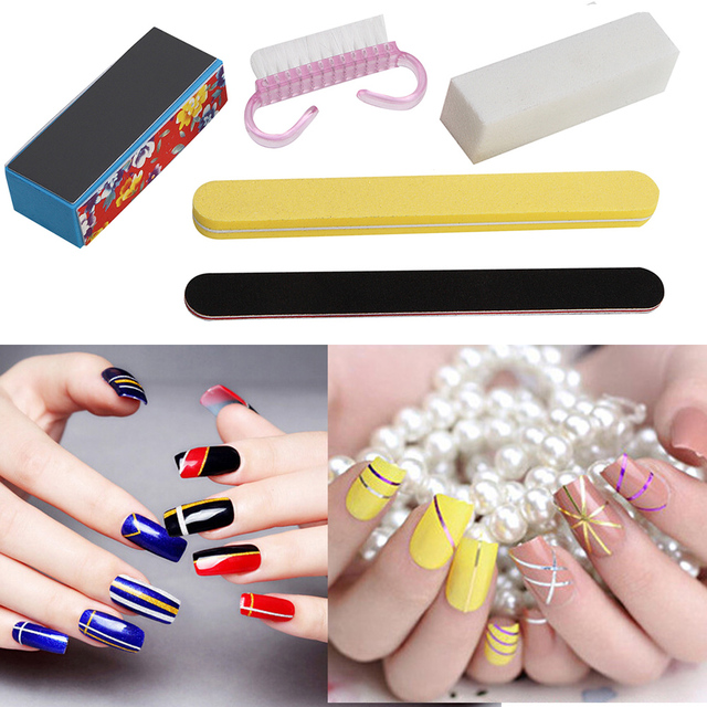 Nail Manicure Kit Nail Files Cleaning Brush Durable Buffing Grit ...