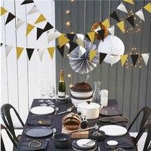 Temporada de graduación, Péndulo de pentagrama de plata negro dorado brillante, bandera redonda de papel, suministros de decoración para fiesta de graduación
