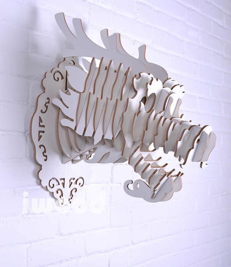 Elephant Head For Wall Decor Wooden Decoration Carved Craft Diy Wood Animal