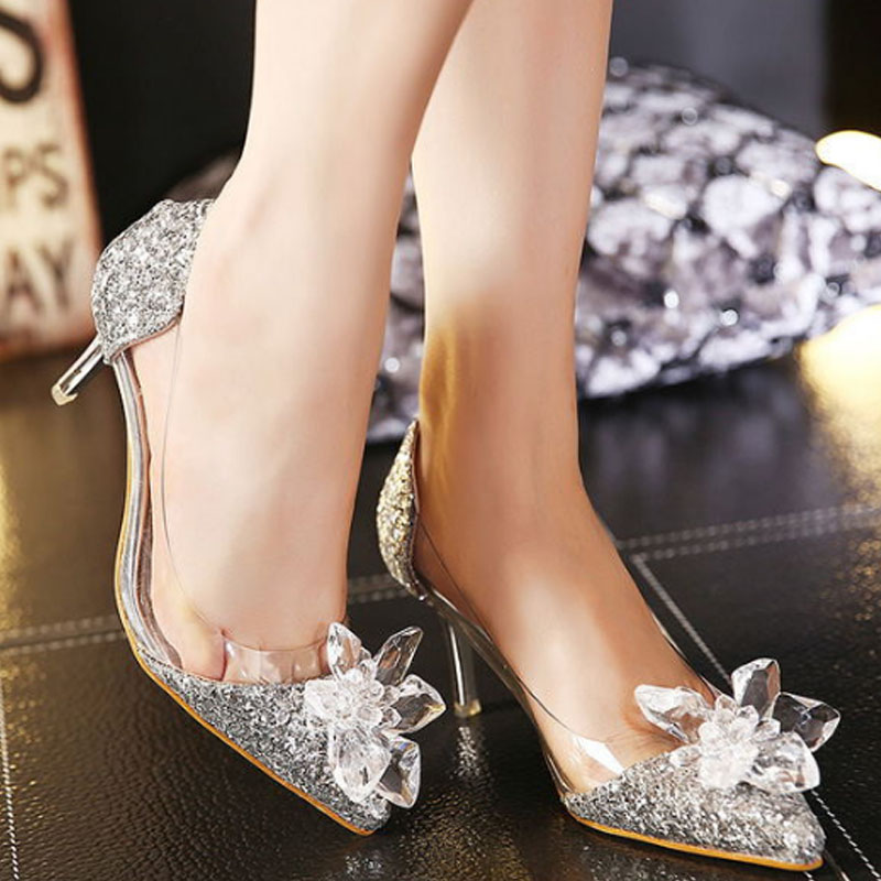 Mujer 2016 Para Novia Oro Zapatos Alto Tacón De plata Nuevos Cenicienta Plata 7qrwY7
