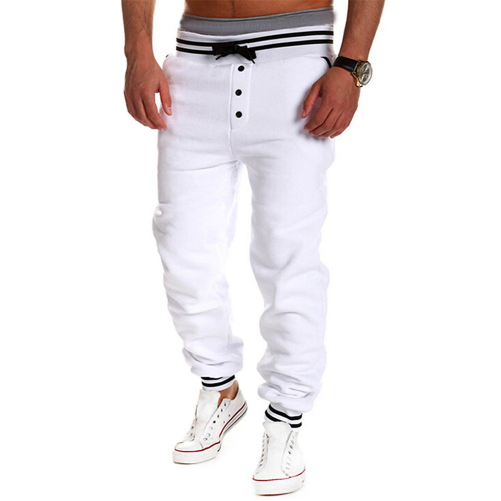 2017 Autumn Mens Harem Casual Baggy HipHop Dance Jogger Sweat Pants Trousers with Buttons Casual Wear Hot