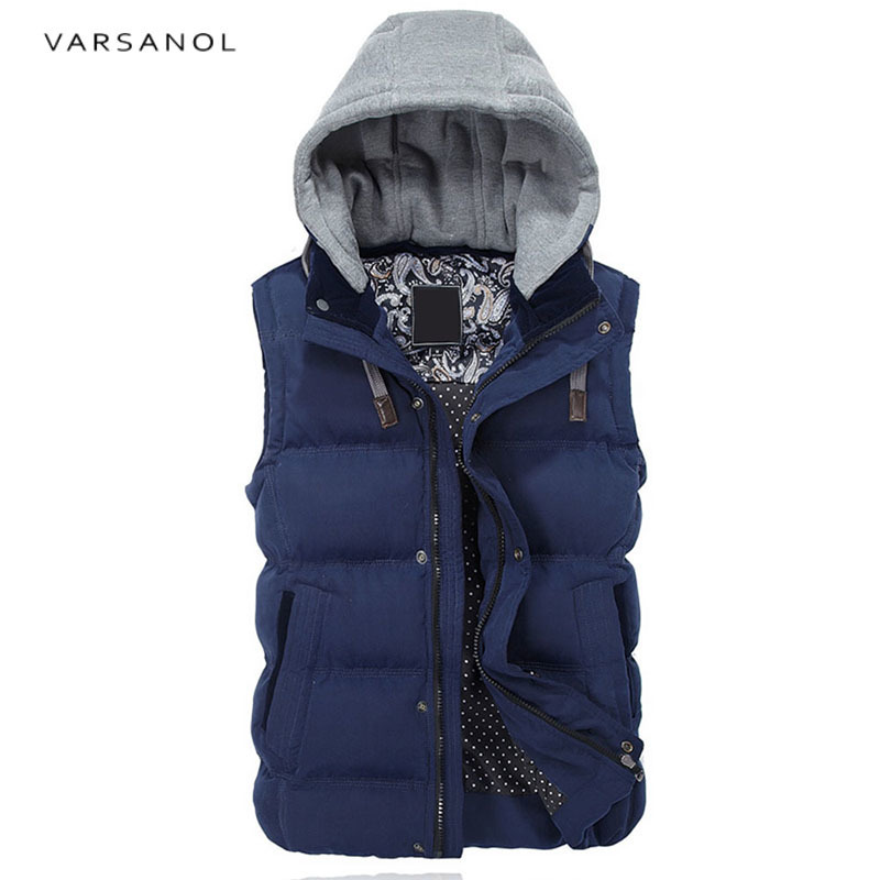 Varsanol Mens Vest Jacket Hoodies Winter Clothes Vests For Men Cotton Outwear Hooded Sleeveless Turn-down Collar Casual Tops2017