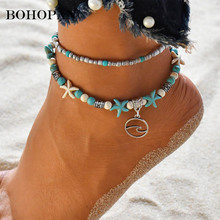 Double-Deck Beads Anklets For Women Round Metal Pendant Design Summer Beach Accessories Bohemian Jewelry Leg Foot Chain Gift