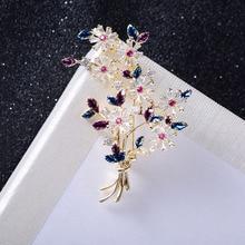 Crystal Cubic Zirconia Flower Brooch Broach Pin Pendant Women Jewelry Accessories XR04022