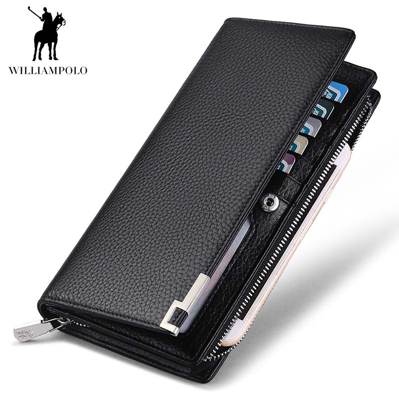 WilliamPOLO Business Men Clutch Wallet Famous Brand Genuine Leather Long Zipper Credit Card Phone Wallet Men Gift williampolo 2017 card wallet men 10 card slots genuine leather button closure fashion long men wallet polo174