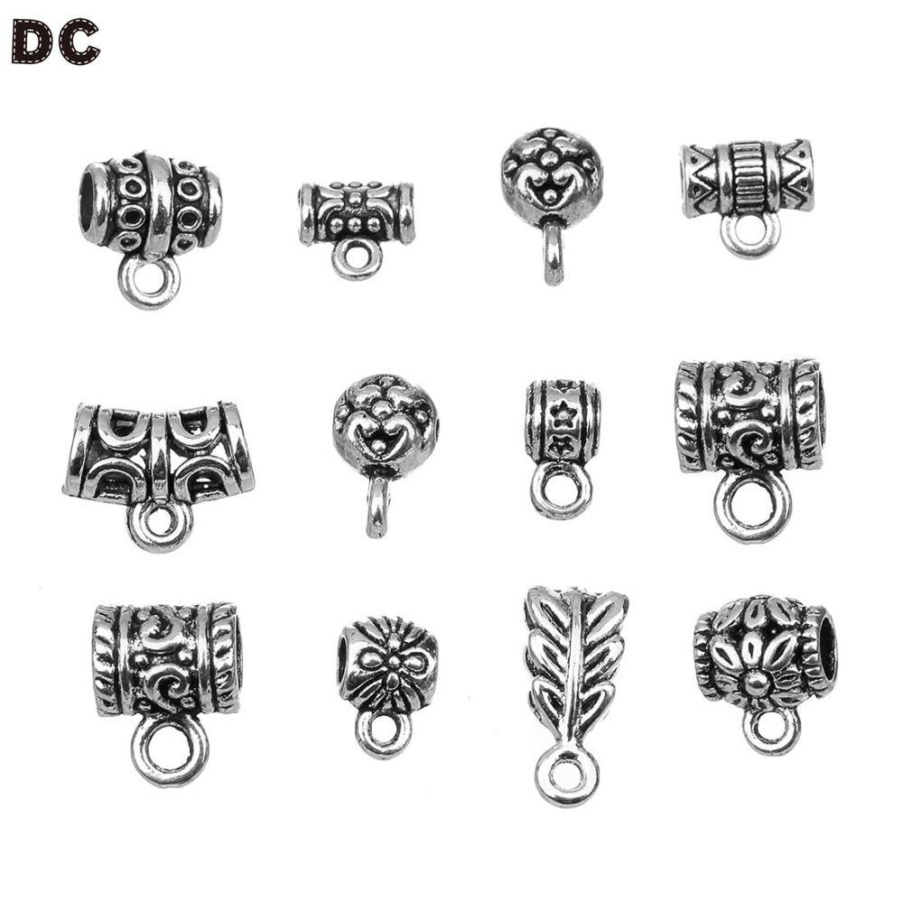Bulks 50p Bails Connectors Holder Clasp Fits 2mm European For Pendants Jewelry
