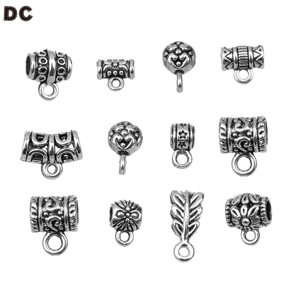 DC 20pcs/lot 12 style Fashion Clip Bail Beads Findings DIY Supplies Jewelry Accessories Pendant Clips & Pendants Clasps