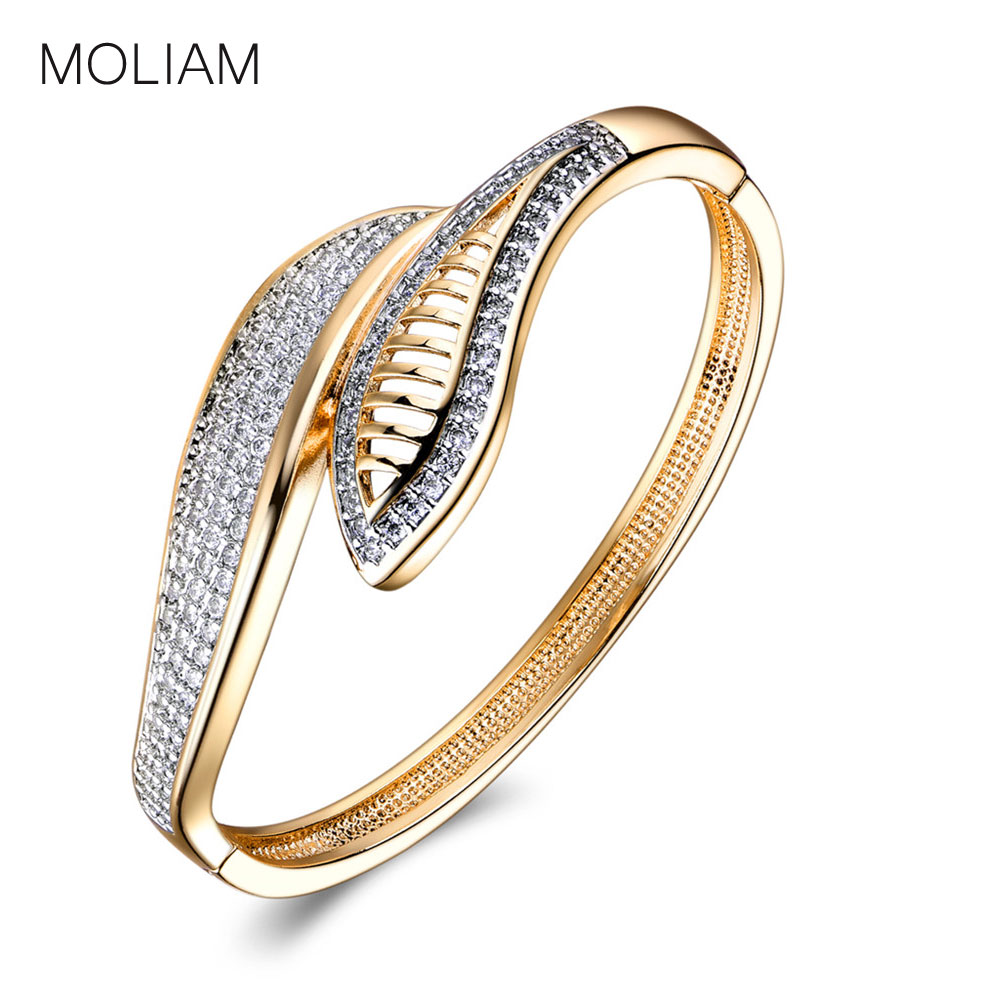 MOLIAM Luxury Brand Bangles 2018 Silver/Gold-Color AAA Cubic Zirconia Lovely Bracelet Bangle For Women Drop Shipping MLZ028