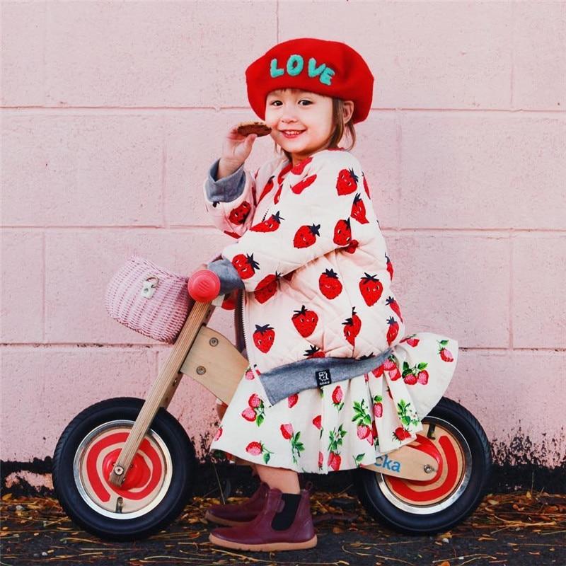 BOBOZONE 2018 Winter Strawberry print coat for boys girls jacket